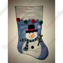 Felt Light Blue Snowman Stocking