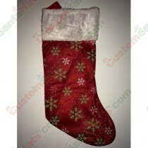 Plush Red Stocking with Green and White Snow