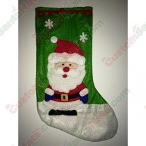 Felt Green Santa Stocking With Snow