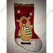 Felt Reindeer with scarf Stocking