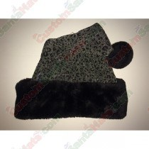 Silver & Black Sparkle Cheetah Santa Hat