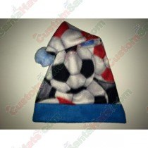 Fleece Soccer Blue Santa Hat