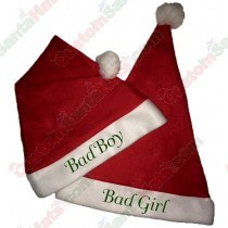 Bad Boy & Bad Girl Santa Hat Combo