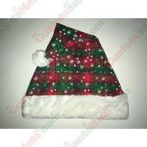 Plaid Santa Hat with White Snow