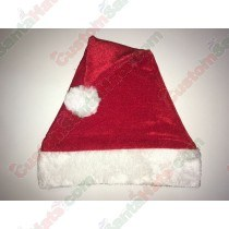 Red Velvet Plush Brim Santa Hat