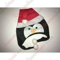 Penguin Shaped Santa Hat Silver Sequin