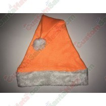 Orange Fleece Santa Hat Plush Brim