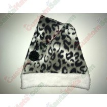 Snow Leopard Fleece black ball Santa Hat