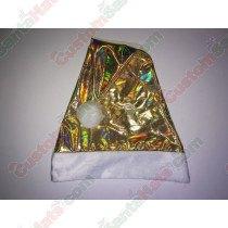 Premium Gold Color-Shifting Rainbow Santa Hat