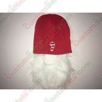 Red Beanie Hat With Santa Beard