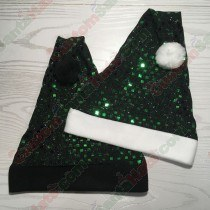 Square Sequin Green and Black Santa Hat