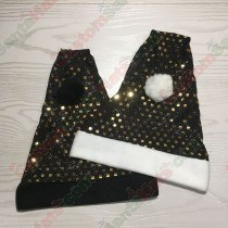 Square Sequin Gold and Black Santa Hat