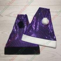 Shiny Grid Purple Santa Hat