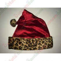 Cheetah Red Metallic Santa Hat