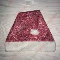 Pink Sparkle Santa Hat Plush Brim