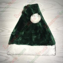 Dark Green Plush Santa Hat