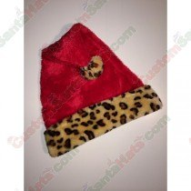 Cheetah Red Santa Hat