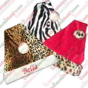 Animal Print Santa Hats